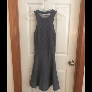 Grey dress with cut out neck